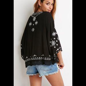 Women's Black Embroidered Gauze Kimono